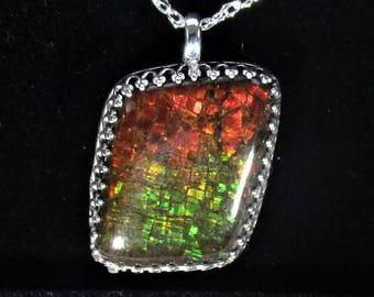 high grade Canadian ammolite handmade sterling silver pendant necklace - ammolite jewelry - rare fossil ammolite