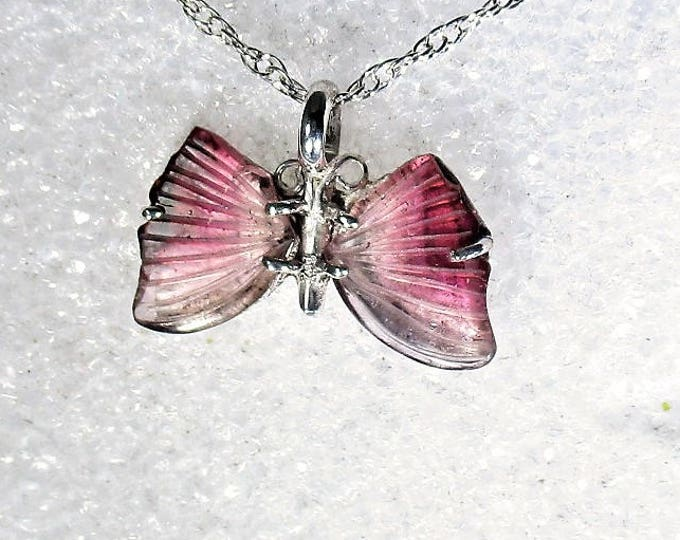 Genuine bi color tourmaline hand carved butterfly sterling silver pendant necklace by Kelnjo (Free Shipping)