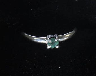 Genuine Emerald gemstone handmade sterling silver stacking solitaire ring - sz 7 - emerald ring - natural emerald - emerald jewelry