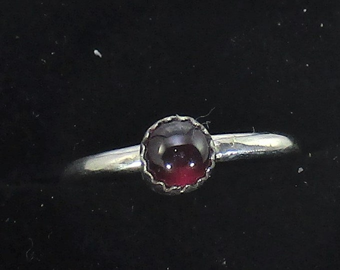 genuine Mozambique red garnet handmade sterling silver stacking ring size 7 1/2