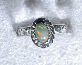 Genuine Ethiopian opal gemstone handmade sterling silver statement ring size 5 - opal ring - opal jewelry