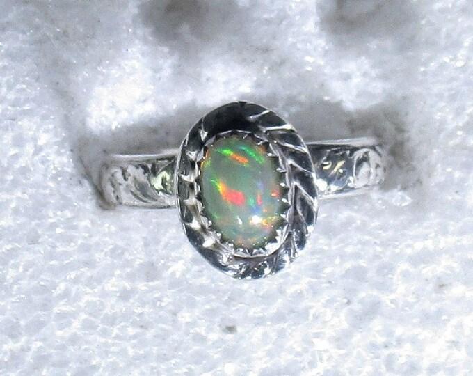 Genuine Ethiopian opal gemstone handmade sterling silver statement ring size 5 - opal ring - opal jewelry