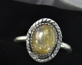 genuine golden rutile quartz gemstone handmade sterling silver statement ring size 6 1/2
