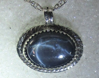 genuine 6 star blue sapphire handmade sterling silver pendant necklace