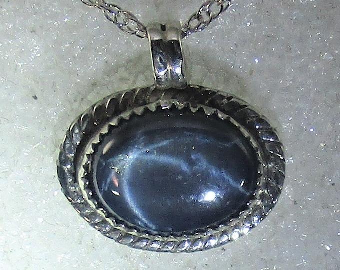 genuine 6 star blue sapphire handmade sterling silver pendant necklace