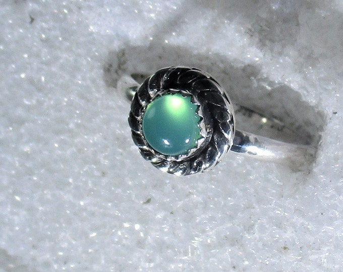 genuine Australian chrysoprase gemstone handmade sterling silver statement ring size 6 1/4  - chrysoprase jewelry