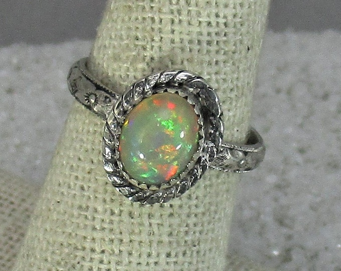 Genuine Ethiopian opal gemstone handmade sterling silver statement ring size 9 1/2