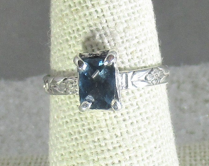 natural London blue topaz handmade sterling silver statement ring size 7