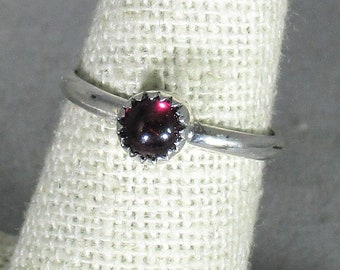 genuine Mozambique garnet gemstone handmade sterling silver stacking ring size 6