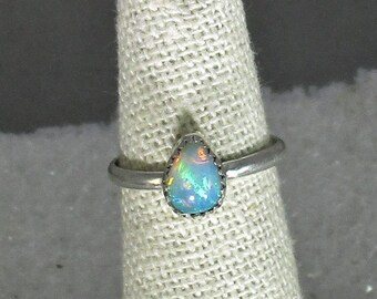 genuine Ethiopian opal gemstone handmade sterling silver handmade statement ring size 5