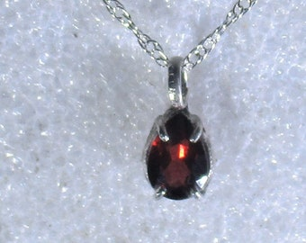 Genuine Mozambique garnet handamde sterling silver pendant necklace