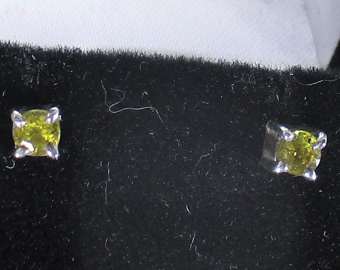 genuine canary yellow sapphire handmade sterling silver stud earrings