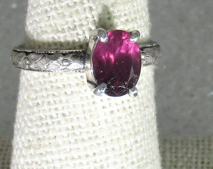 genuine raspberry garnet gemstone handmade sterling silver statement ring size 7