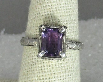 genuine amethyst gemstone handmade sterling silver statement ring size 7 1/4