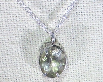 genuine natural white zircon gemstone handmade sterling silver pendant necklace
