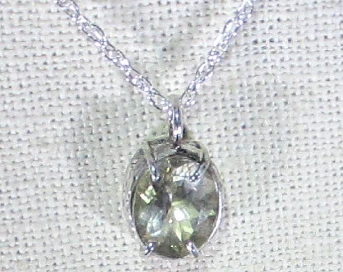 genuine natural white zircon gemstone handmade sterling silver pendant necklace