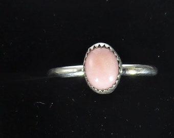 genuine pink opal gemstone handamde sterling silver stacking ring size 9