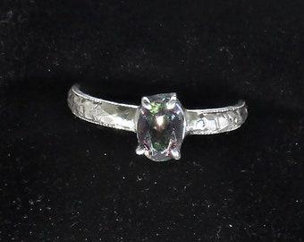 genuine mystic topaz gemstone handmade sterling silver solitaire ring size 8 1/4