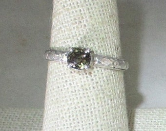 genuine purple  garnet handmade sterling silver ring size 7 1/2
