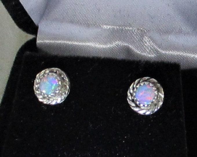Genuine Australian opal handmade sterling silver stud earrings