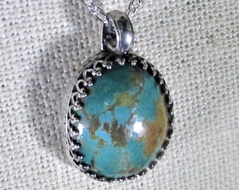 genuine Kingman blue green turquoise gemstone handmade sterling silver pendant necklace