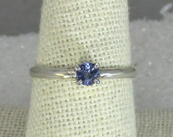 genuine tanzanite gemstone handmade sterling silver stacking ring size 9