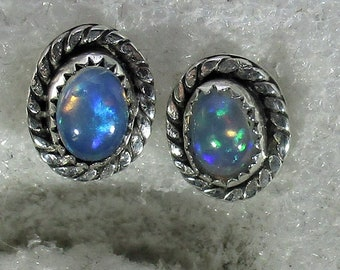 Genuine Ethiopian opal gemstone handmade sterling silver stud earrings