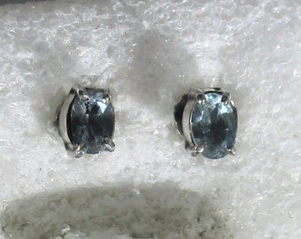 genuine Santa Maria aquamarine gemstone handmade sterling silver stud earrings