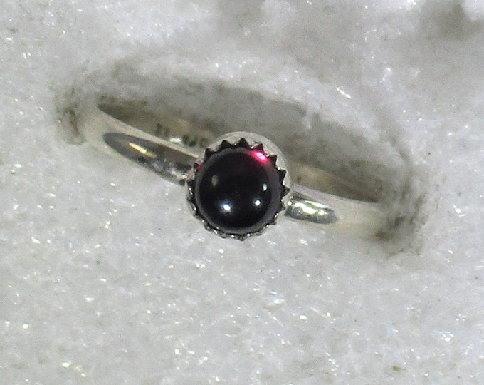genuine Mozambique garnet handmade sterling silver stacking ring size 6 1/2