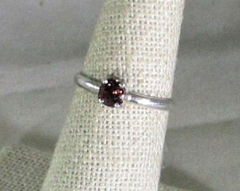 genuine red zircon gemstone handmade sterling silver ring size 6 1/2