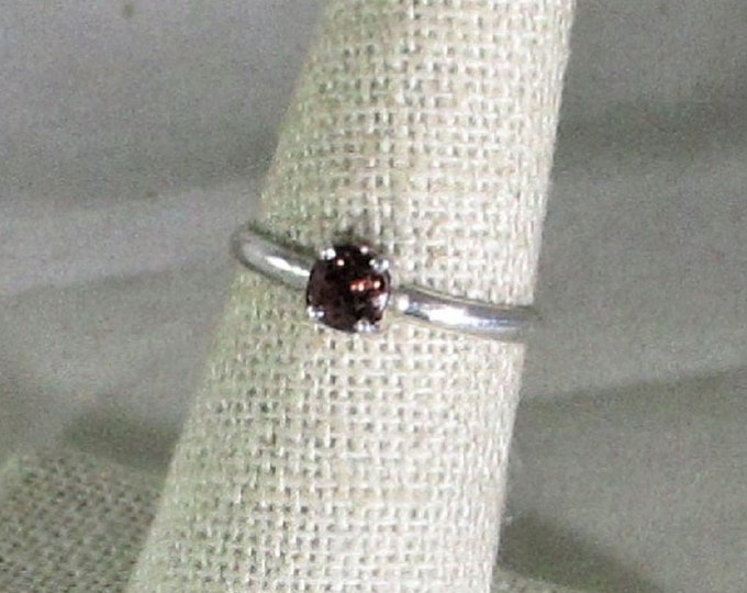 genuine red zircon gemstone handmade sterling silver ring size 6 1/2