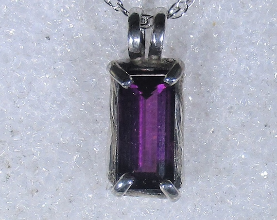 Very rare Grape Garnet gemstone handmade sterling silver pendant necklace