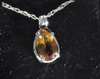 genuine Maderia citrine gemstone handmade sterling silver pendant necklace