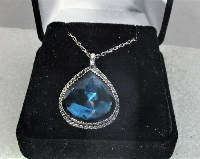 lab created blue quartz gemstone in handmade sterling silver pendant necklace