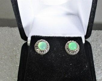 Pretty green Chrysoprase handmade sterling silver earrings