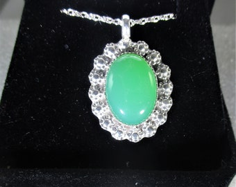 Stunning green Chrysoprase Sterling silver mirror style  handmade Pendant necklace