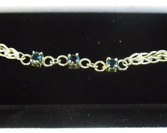 4mm London blue topaz gemstone fine silver foxtail chain bracelet by Kelnjo