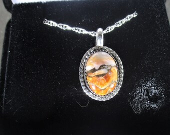 Genuine orange oyster shell cabachon handmade sterling silver pendant necklace
