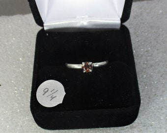 Vibrant red zircon handmade sterling silver ring size 9 1/4