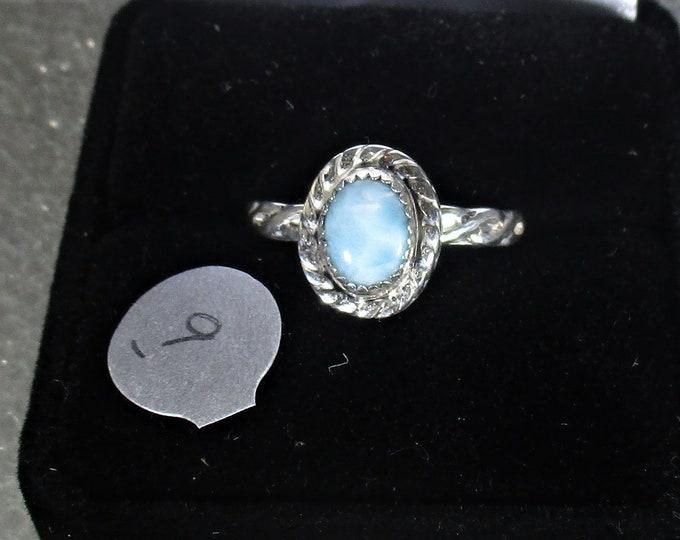 Larimar  handmade sterling silver ring size 9