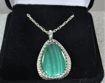 Genuine malachite handmade sterling silver pendant necklace free shipping