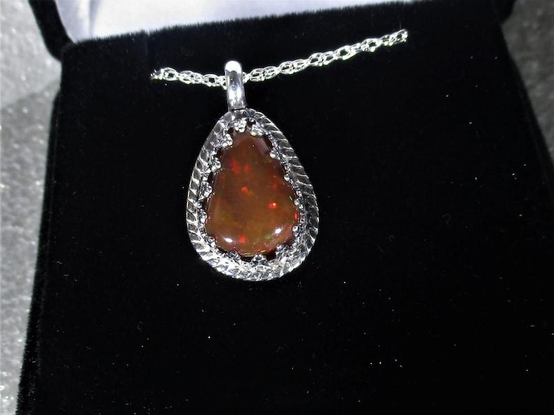genuine Ethiopian opal gemstone handmade sterling silver pendant necklace