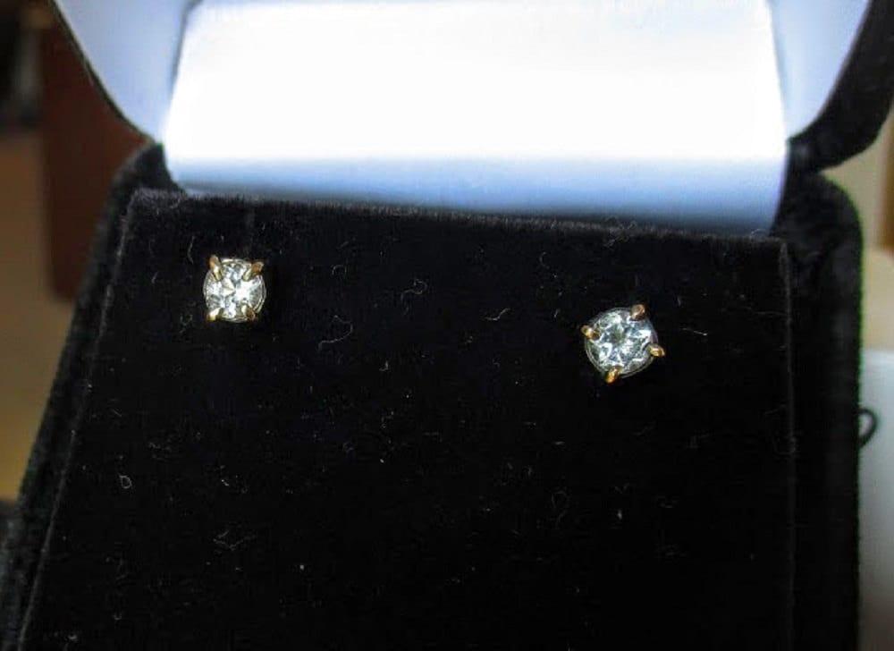 3689cb647 14k gold White topaz stud earrings by Kelnjo (Free Shipping). gallery photo  ...