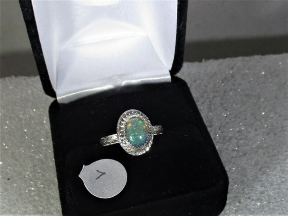 A very colorful Ethiopian opal handmade sterling silver ring size 7