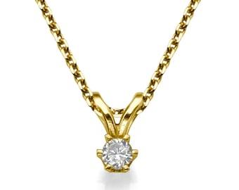 14K Yellow Gold Necklace, Diamond Solitaire Pendant, Gold Chain Diamond 0.06 Round VS G, Wedding Jewelry, XMAS Gift