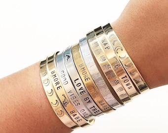 Hand stamped bracelet cuffs