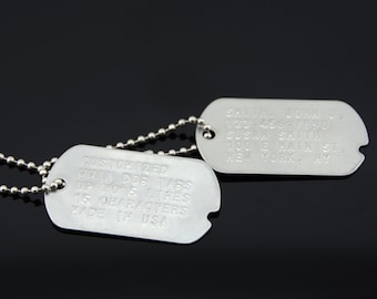 Custom Embossed Notched WWII Style Stainless Steel Military ID Dog Tags c74ff72766d