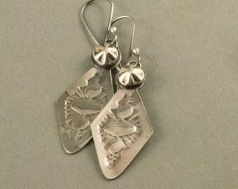 Southwestern Style Earrings, Silver Earrings, Triangle Earrings, Stamped Earrings, Sterling Earrings, Handmade Earrings, Bead Earrings