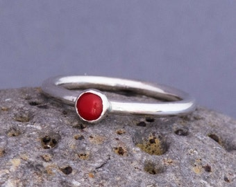 Sterling silver stacking ring, silver ring, red coral ring, stacking ring, stackable ring, red stone ring, gemstone ring, handmade ring,