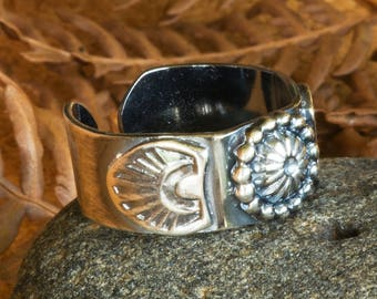 Adjustable Silver Stamped Southwestern Ring, Bead Accent Hammered Textured 925 Ring Band